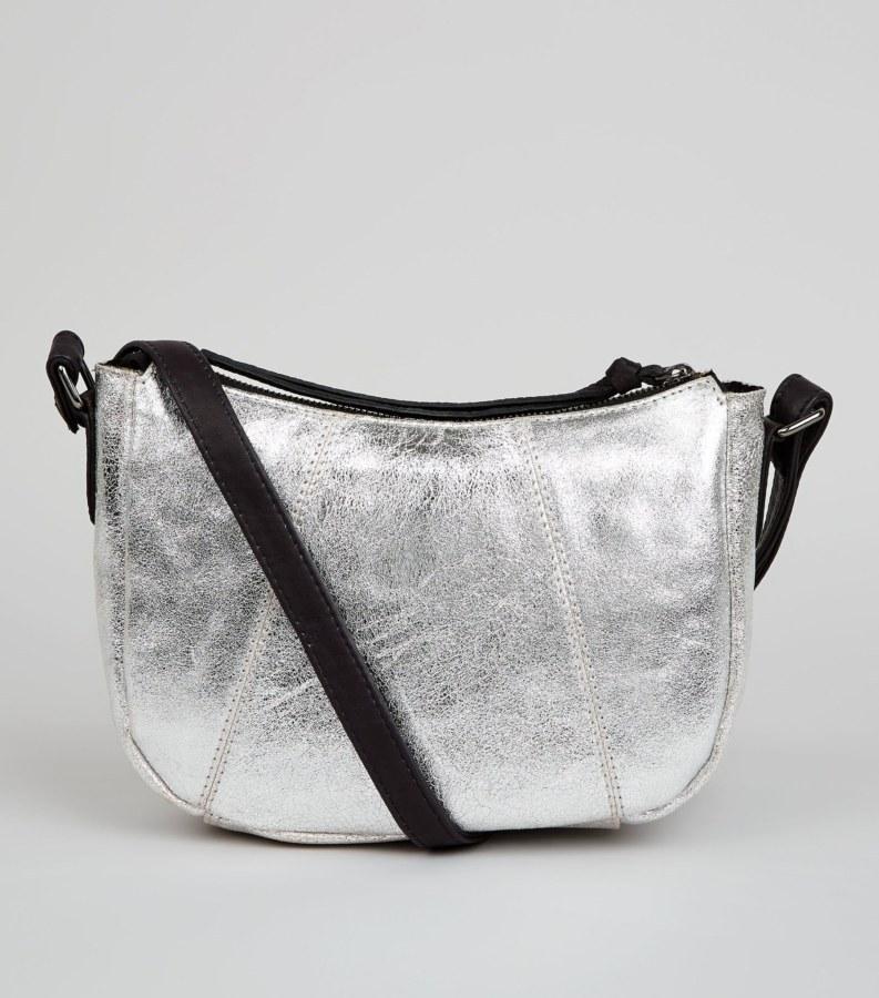 Metalic silver leather cross body bag