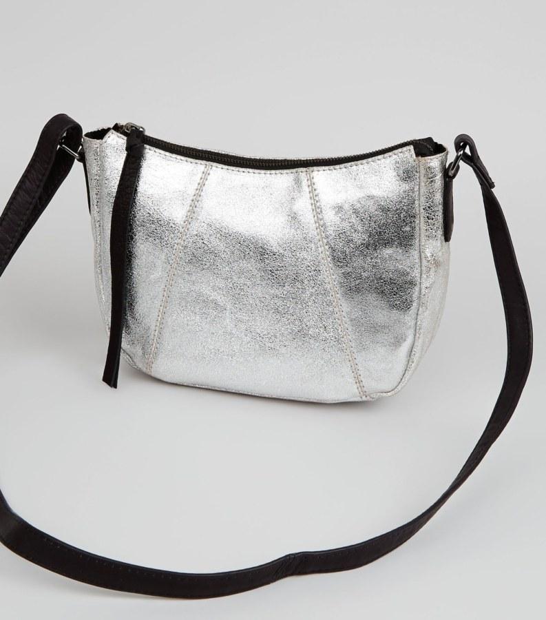 Metalic silver cross body bag